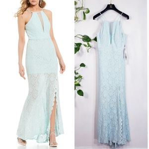 NWT JUMP Mint Lace Halter Sparkle Evening Gown M